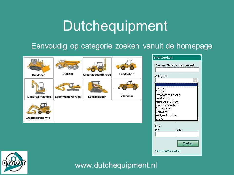 Dutchequipment www.dutchequipment.nl Eenvoudig op categorie zoeken vanuit de homepage