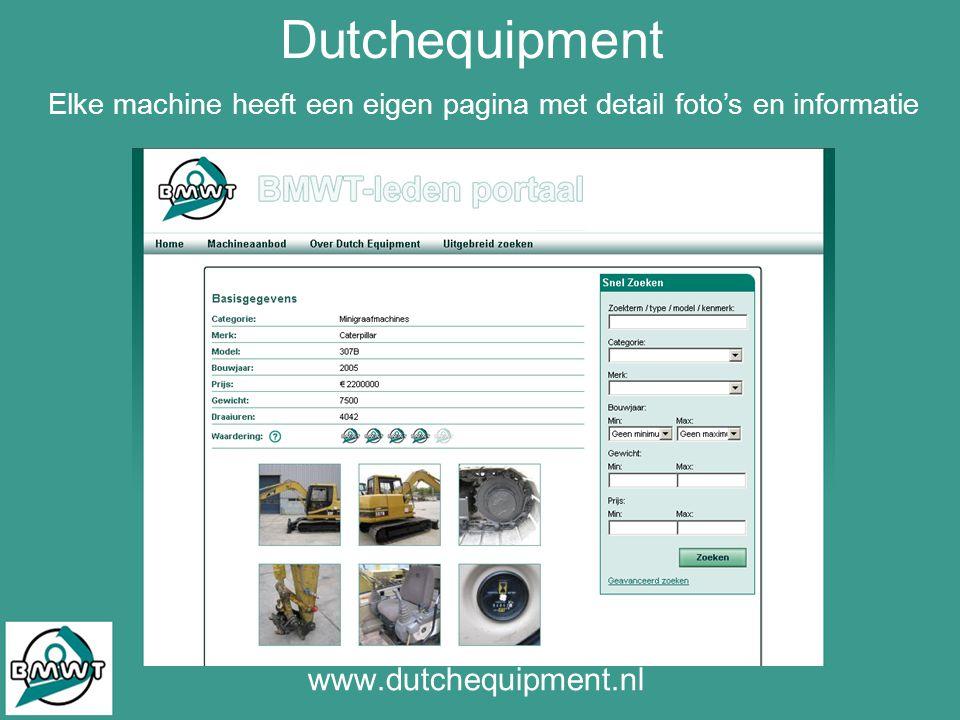 Dutchequipment www.dutchequipment.nl Elke machine heeft een eigen pagina met detail foto's en informatie
