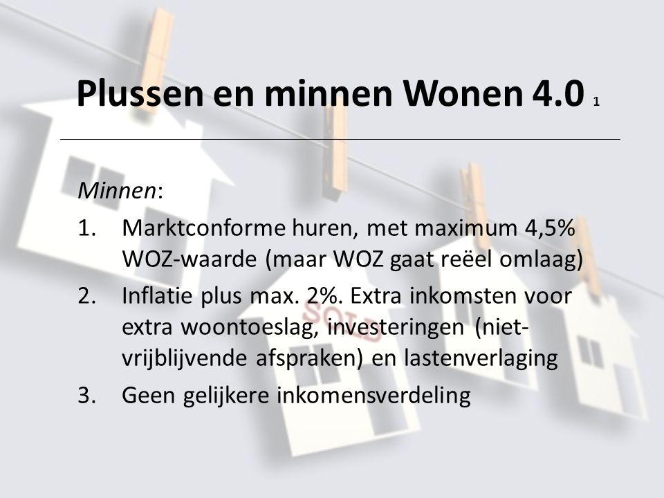 Plussen en minnen Wonen 4.0 1 Minnen: 1.Marktconforme huren, met maximum 4,5% WOZ-waarde (maar WOZ gaat reëel omlaag) 2.Inflatie plus max.