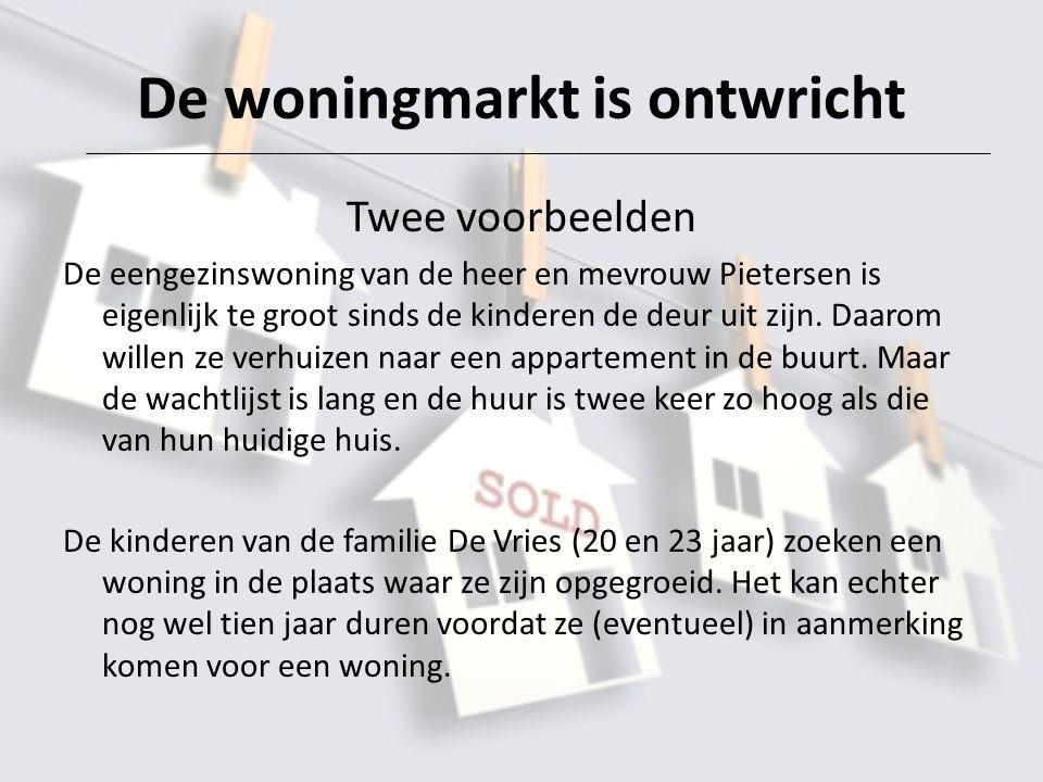 De woningmarkt is ontwricht Twee voorbeelden De eengezinswoning van de heer en mevrouw Pietersen is eigenlijk te groot sinds de kinderen de deur uit zijn.