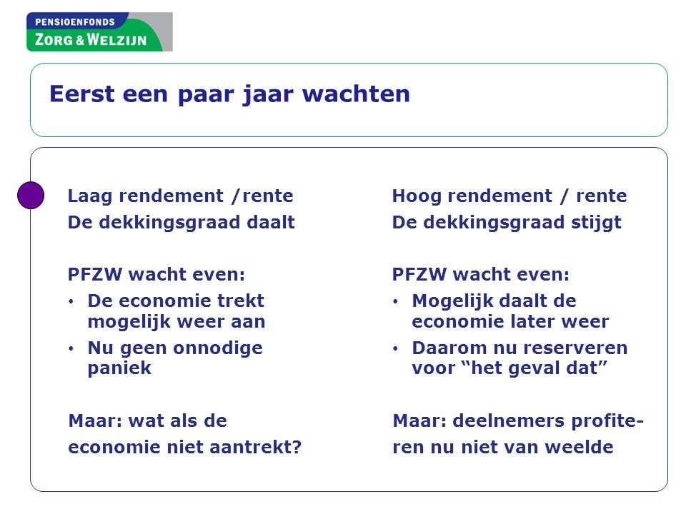 Laag rendement /rente De dekkingsgraad daalt PFZW wacht even: • De economie trekt mogelijk weer aan • Nu geen onnodige paniek Maar: wat als de economi