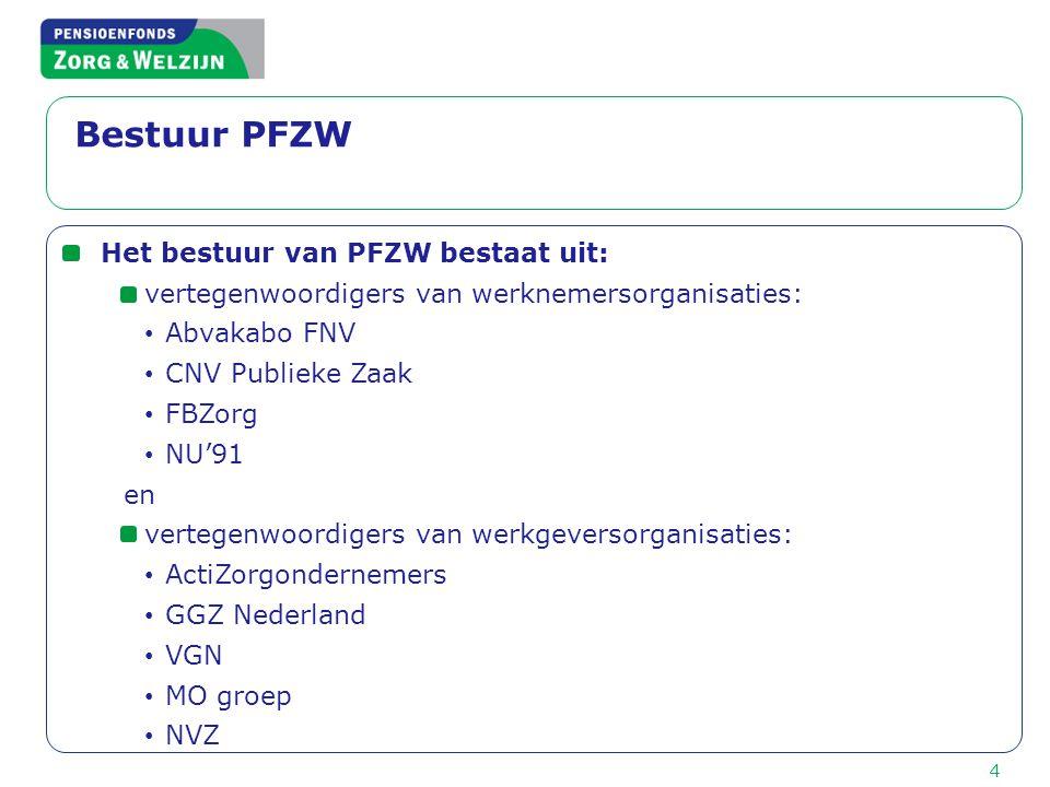 Bestuur PFZW Het bestuur van PFZW bestaat uit: vertegenwoordigers van werknemersorganisaties: • Abvakabo FNV • CNV Publieke Zaak • FBZorg • NU'91 en v