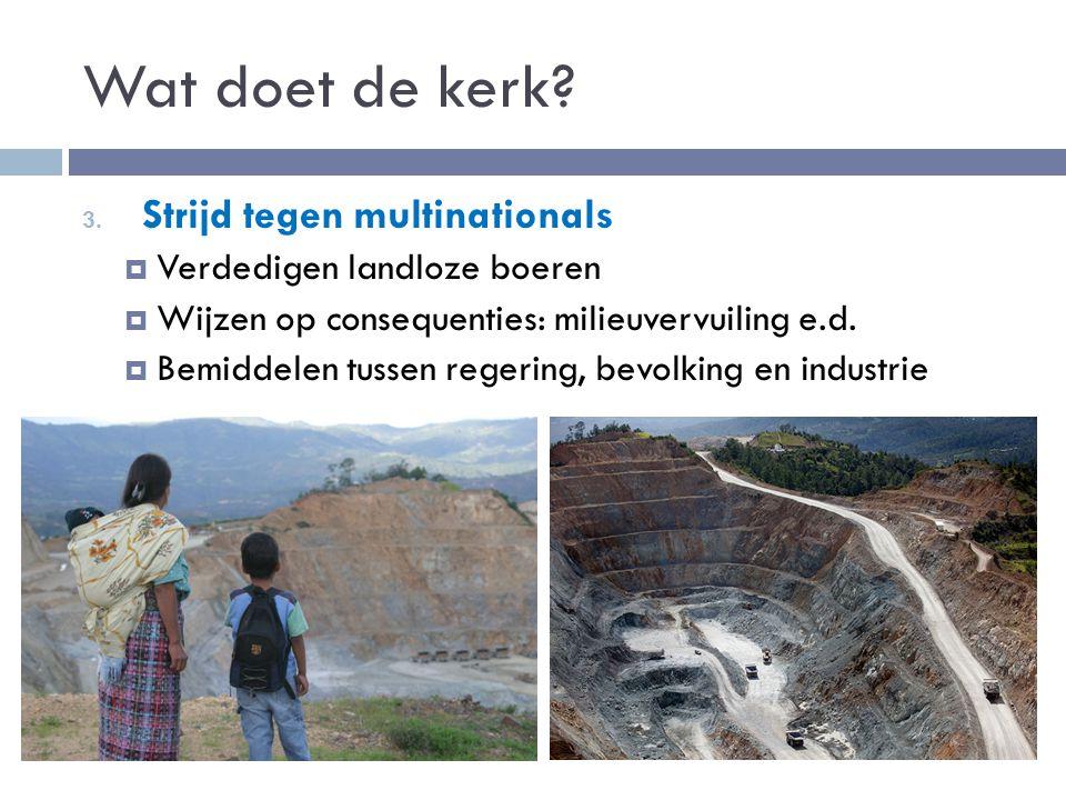 3. Strijd tegen multinationals  Verdedigen landloze boeren  Wijzen op consequenties: milieuvervuiling e.d.  Bemiddelen tussen regering, bevolking e
