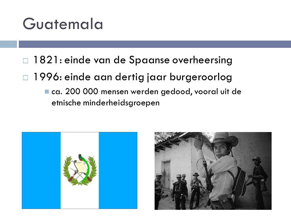 Onderwijs kampt met problemen  Onderwijs is duur  Kinderen helpen in huishouden of gaan werken  Weinig goede scholen  Kind in Guatemala: gemiddeld 10,5 jaar onderwijs  31% van de volwassenen is ongeletterd  Vooral inheemse bevolking achtergesteld