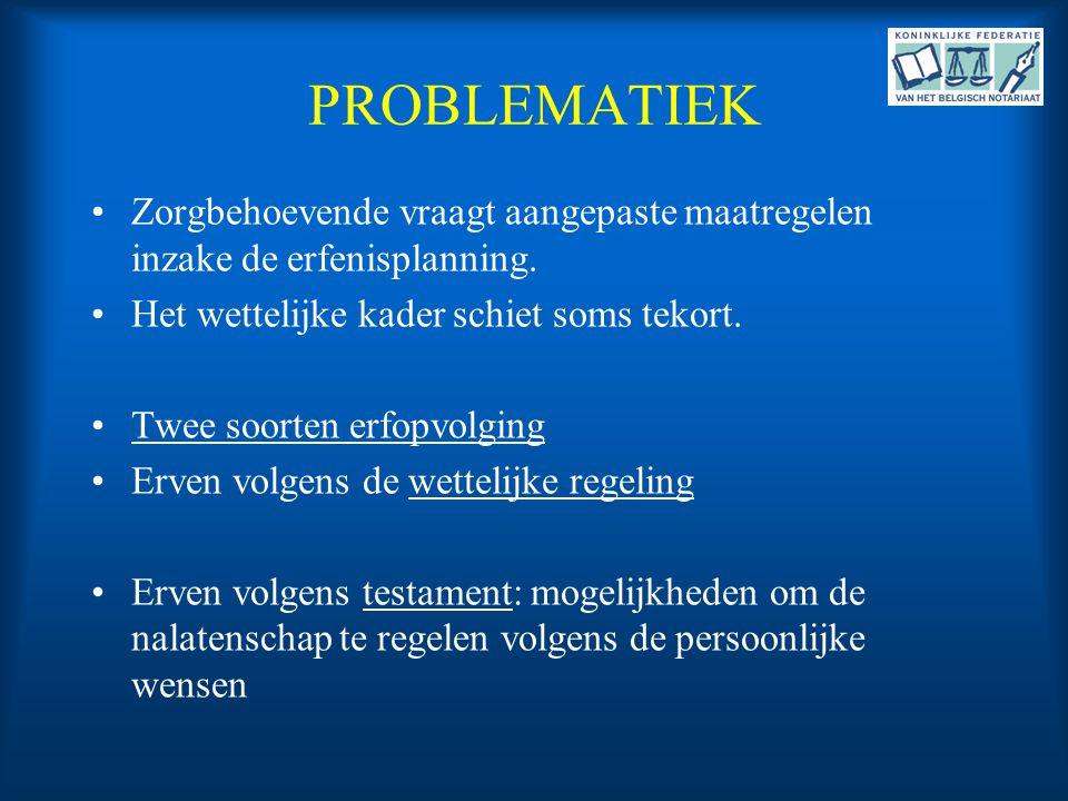 PROBLEMATIEK •Zorgbehoevende vraagt aangepaste maatregelen inzake de erfenisplanning. •Het wettelijke kader schiet soms tekort. •Twee soorten erfopvol