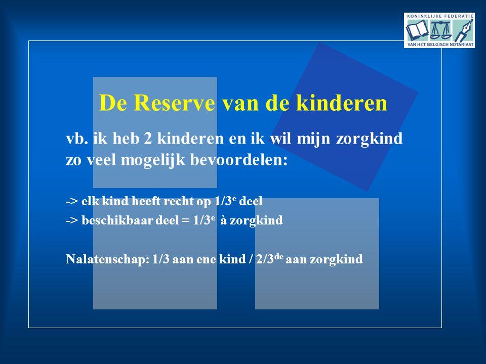 De Reserve van de kinderen vb. ik heb 2 kinderen en ik wil mijn zorgkind zo veel mogelijk bevoordelen: -> elk kind heeft recht op 1/3 e deel -> beschi