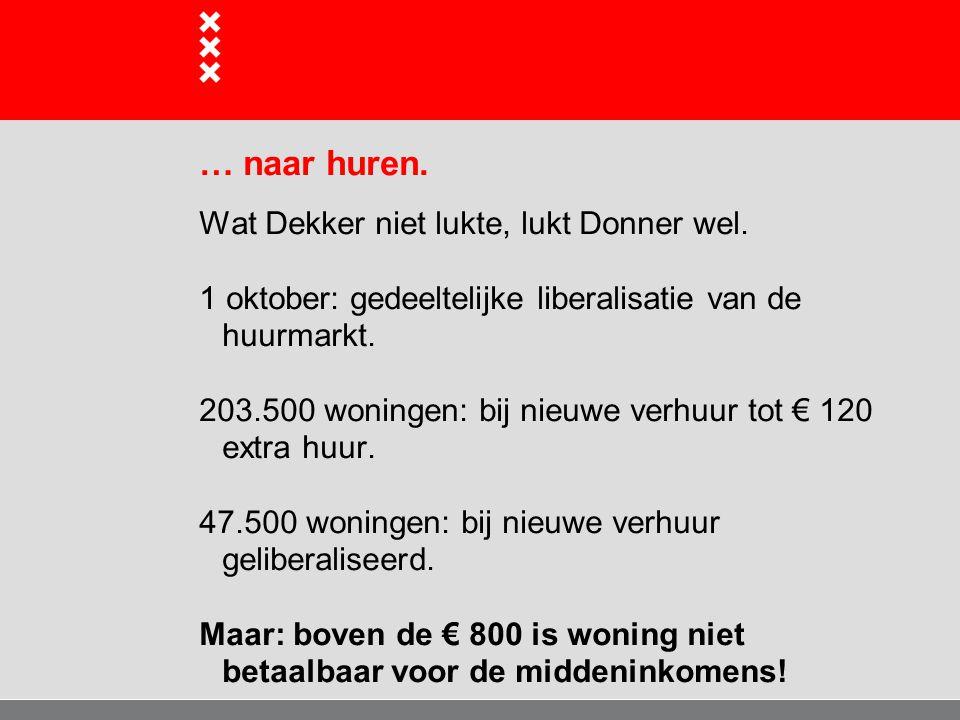 … naar huren. Wat Dekker niet lukte, lukt Donner wel. 1 oktober: gedeeltelijke liberalisatie van de huurmarkt. 203.500 woningen: bij nieuwe verhuur to