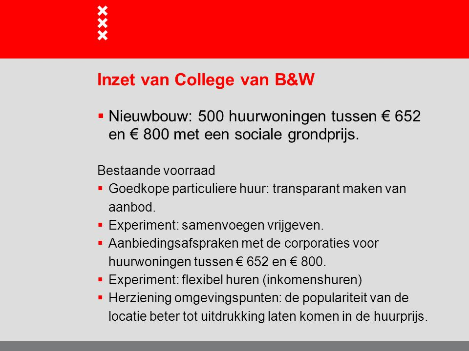 Inzet van College van B&W  Nieuwbouw: 500 huurwoningen tussen € 652 en € 800 met een sociale grondprijs. Bestaande voorraad  Goedkope particuliere h