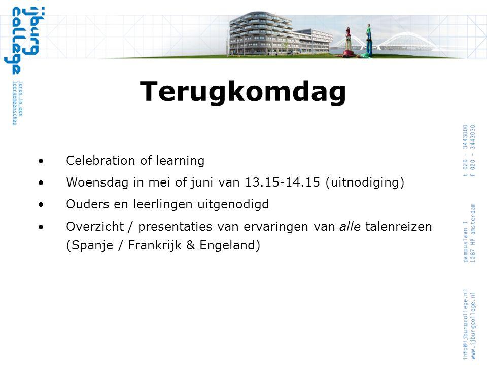 Terugkomdag •Celebration of learning •Woensdag in mei of juni van 13.15-14.15 (uitnodiging) •Ouders en leerlingen uitgenodigd •Overzicht / presentatie