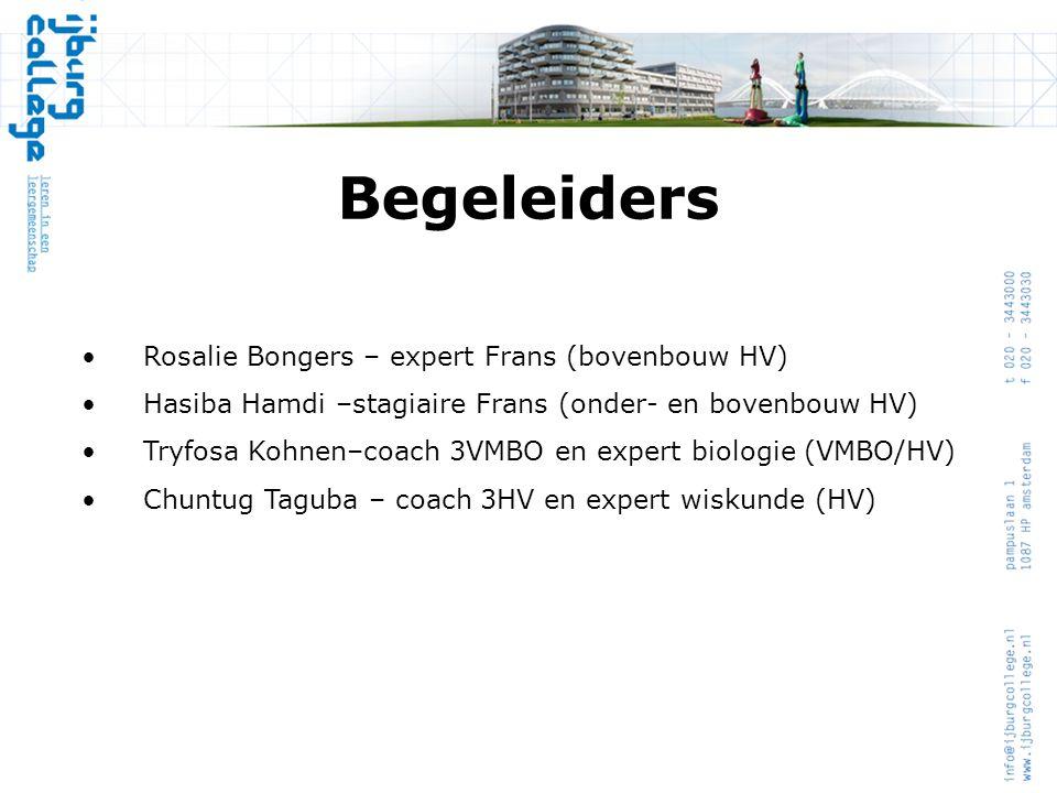 Begeleiders •Rosalie Bongers – expert Frans (bovenbouw HV) •Hasiba Hamdi –stagiaire Frans (onder- en bovenbouw HV) •Tryfosa Kohnen–coach 3VMBO en expe