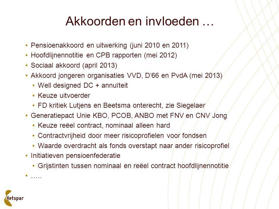 Akkoorden en invloeden … •Pensioenakkoord en uitwerking (juni 2010 en 2011) •Hoofdlijnennotitie en CPB rapporten (mei 2012) •Sociaal akkoord (april 20