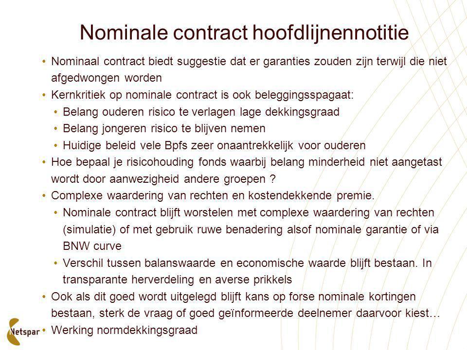 Nominale contract hoofdlijnennotitie •Nominaal contract biedt suggestie dat er garanties zouden zijn terwijl die niet afgedwongen worden •Kernkritiek