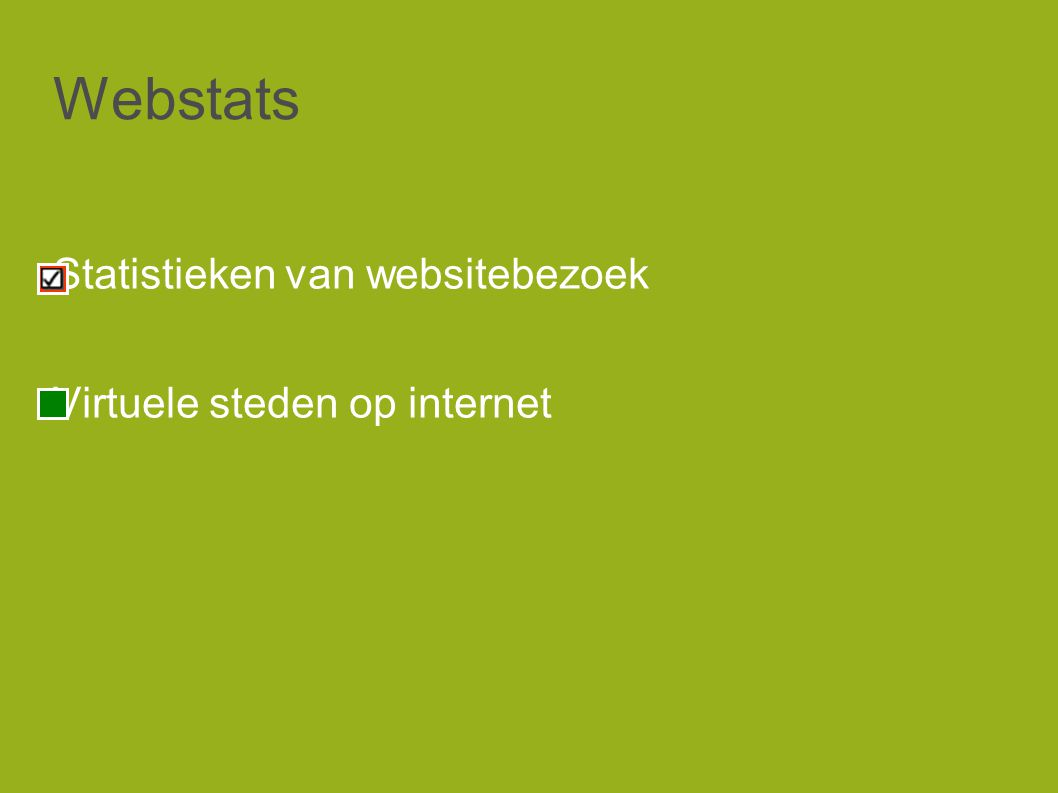 Webstats Statistieken van websitebezoek Virtuele steden op internet
