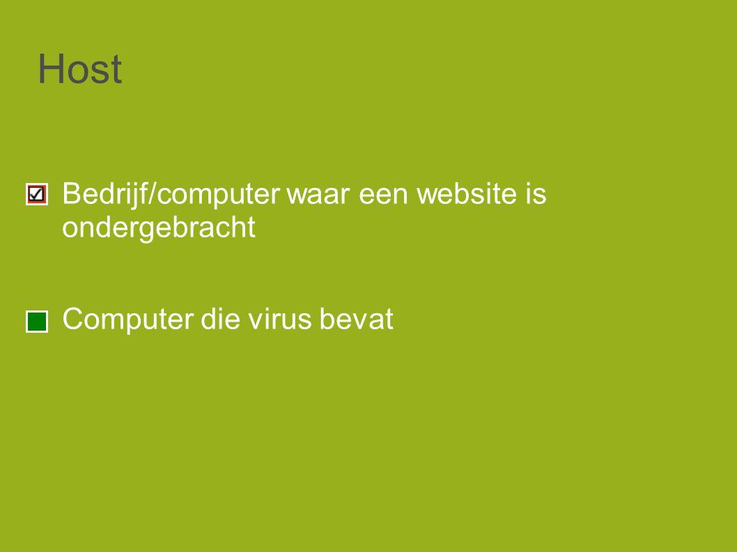 Host Bedrijf/computer waar een website is ondergebracht Computer die virus bevat
