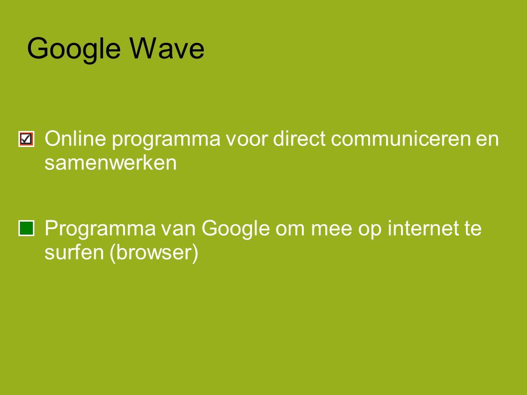 Google Wave Online programma voor direct communiceren en samenwerken Programma van Google om mee op internet te surfen (browser)