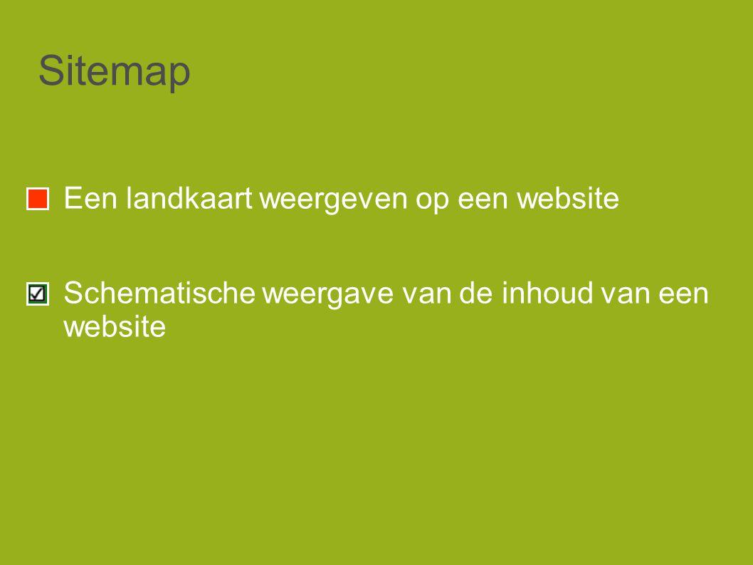 Sitemap Een landkaart weergeven op een website Schematische weergave van de inhoud van een website