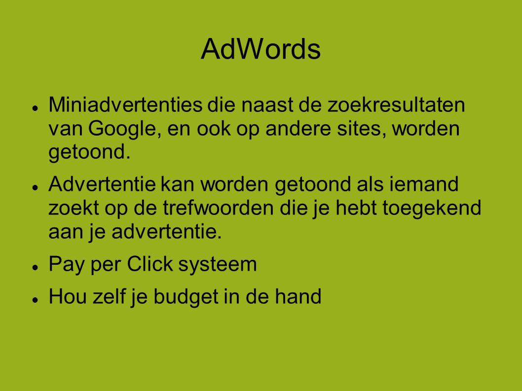 AdWords  Miniadvertenties die naast de zoekresultaten van Google, en ook op andere sites, worden getoond.