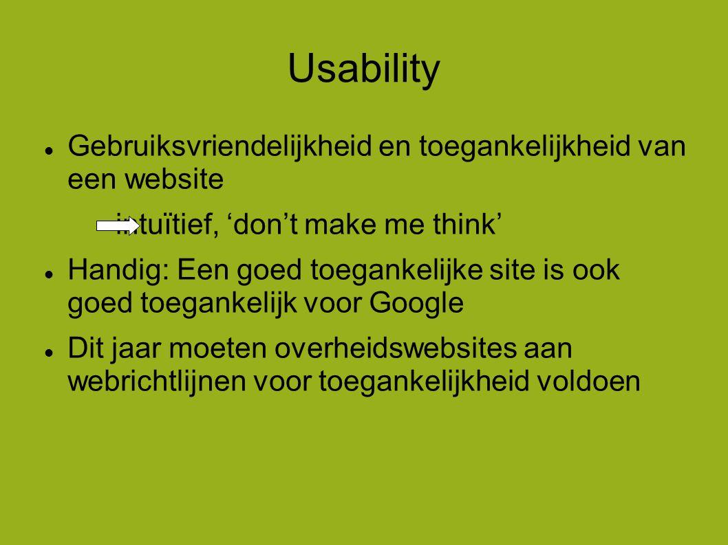 Usability  Gebruiksvriendelijkheid en toegankelijkheid van een website intuïtief, 'don't make me think'  Handig: Een goed toegankelijke site is ook goed toegankelijk voor Google  Dit jaar moeten overheidswebsites aan webrichtlijnen voor toegankelijkheid voldoen