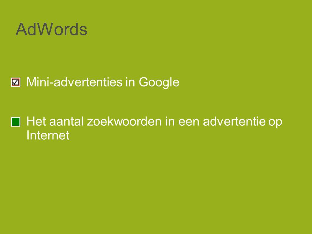 AdWords Mini-advertenties in Google Het aantal zoekwoorden in een advertentie op Internet