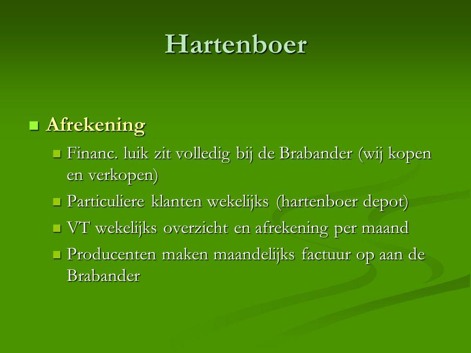 Hartenboer  Afrekening  Financ. luik zit volledig bij de Brabander (wij kopen en verkopen)  Particuliere klanten wekelijks (hartenboer depot)  VT
