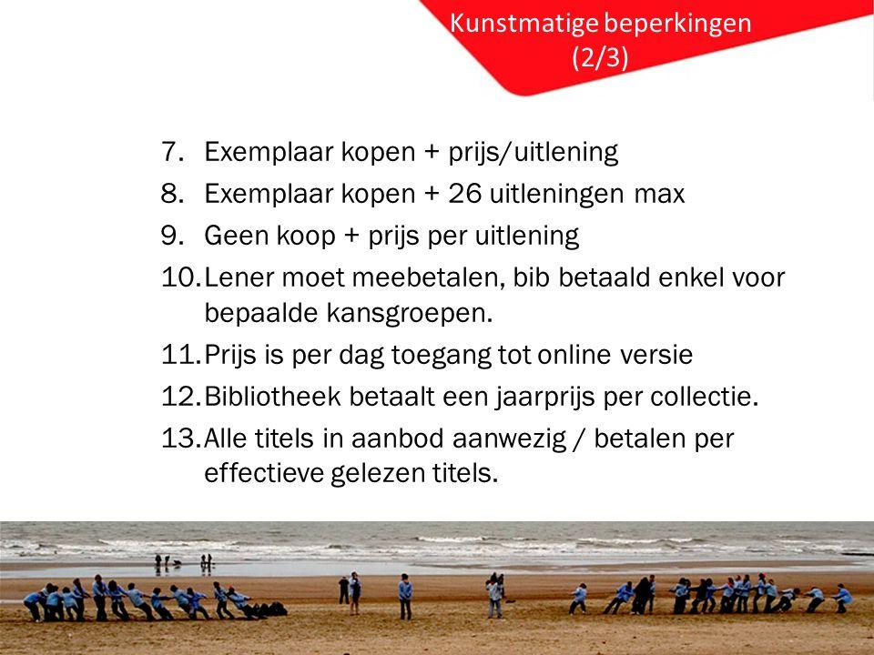 Kunstmatige beperkingen (2/3) 7.Exemplaar kopen + prijs/uitlening 8.Exemplaar kopen + 26 uitleningen max 9.Geen koop + prijs per uitlening 10.Lener moet meebetalen, bib betaald enkel voor bepaalde kansgroepen.