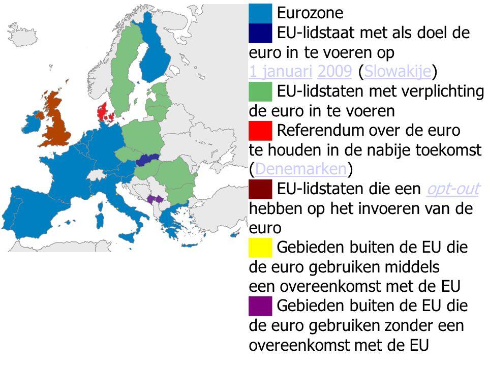██ Eurozone ██ EU-lidstaat met als doel de euro in te voeren op 1 januari1 januari 2009 (Slowakije)2009Slowakije ██ EU-lidstaten met verplichting de
