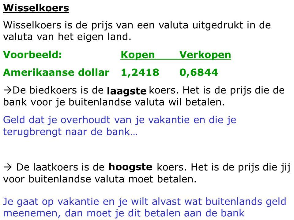 Wisselkoers Wisselkoers is de prijs van een valuta uitgedrukt in de valuta van het eigen land. Voorbeeld:KopenVerkopen Amerikaanse dollar1,24180,6844