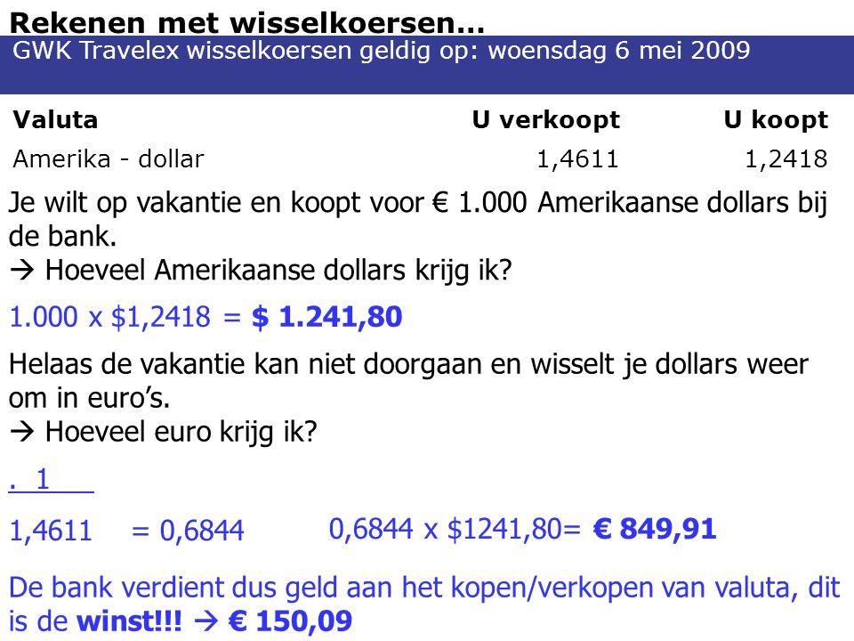 Rekenen met wisselkoersen… Je wilt op vakantie en koopt voor € 1.000 Amerikaanse dollars bij de bank.  Hoeveel Amerikaanse dollars krijg ik? 1.000 x