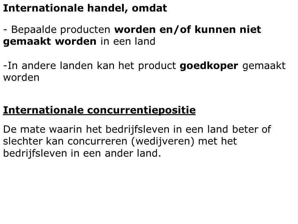 Internationale handel, omdat - Bepaalde producten worden en/of kunnen niet gemaakt worden in een land -In andere landen kan het product goedkoper gema