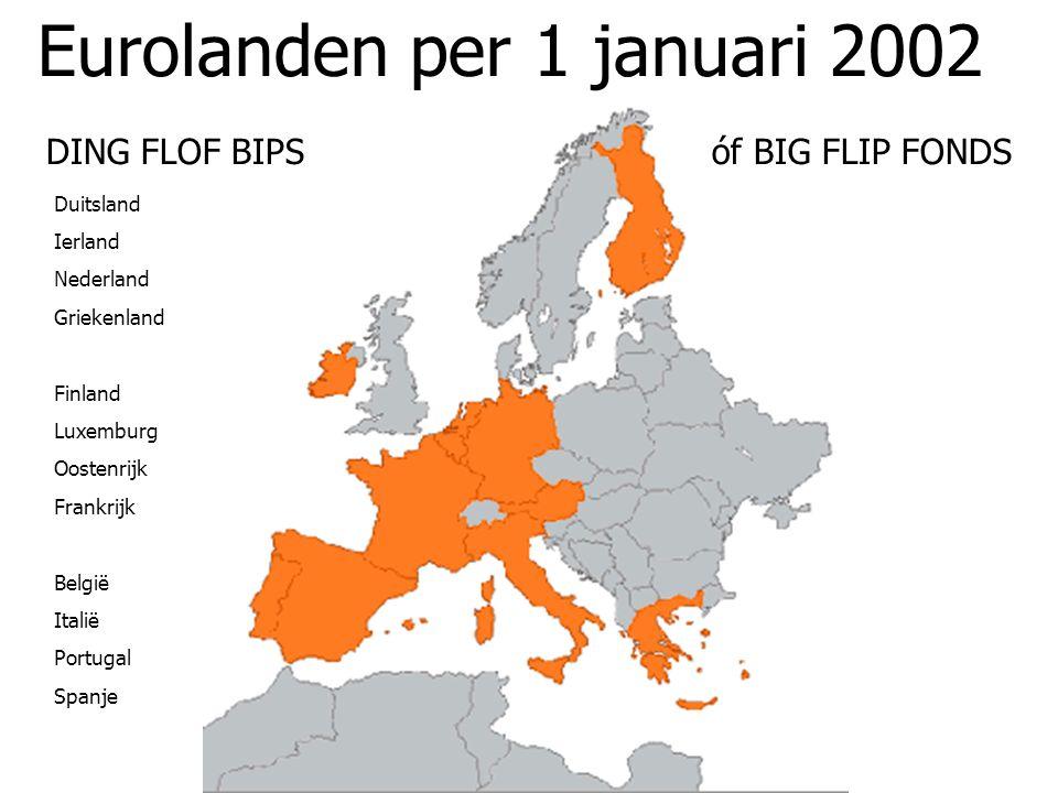 Eurolanden per 1 januari 2002 DING FLOF BIPS óf BIG FLIP FONDS Duitsland Ierland Nederland Griekenland Finland Luxemburg Oostenrijk Frankrijk België I