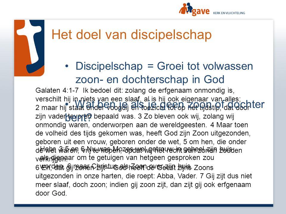 Het doel van discipelschap •Discipelschap = Groei tot volwassen zoon- en dochterschap in God Galaten 4:1-7 Ik bedoel dit: zolang de erfgenaam onmondig