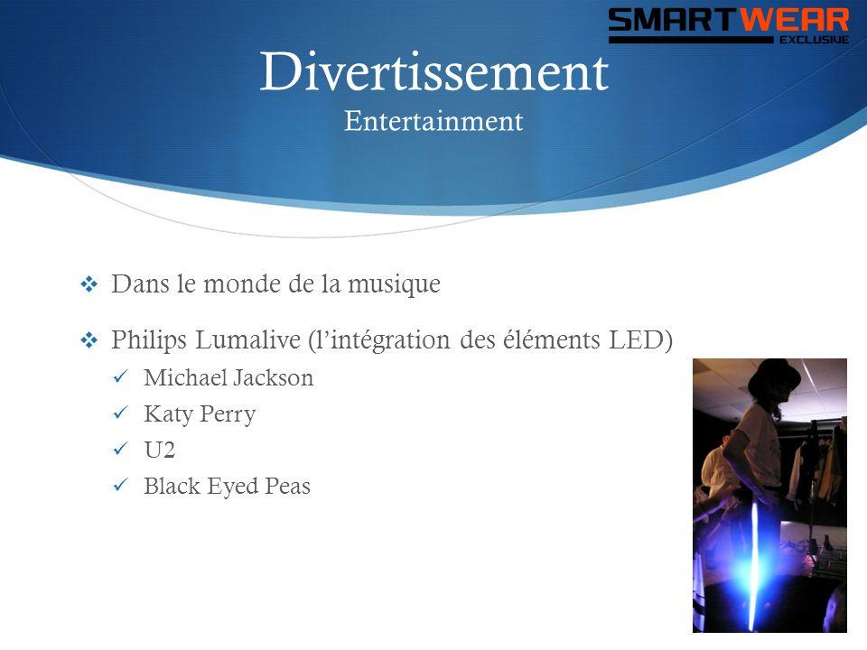 Divertissement Entertainment  Dans le monde de la musique  Philips Lumalive (l'intégration des éléments LED)  Michael Jackson  Katy Perry  U2  B
