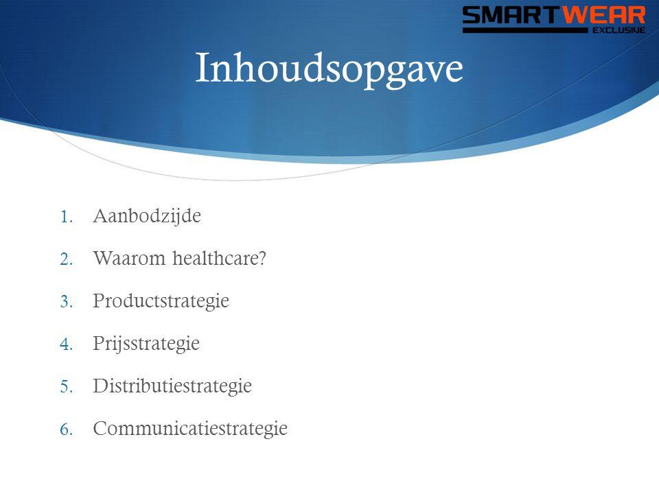 Inhoudsopgave 1. Aanbodzijde 2. Waarom healthcare? 3. Productstrategie 4. Prijsstrategie 5. Distributiestrategie 6. Communicatiestrategie