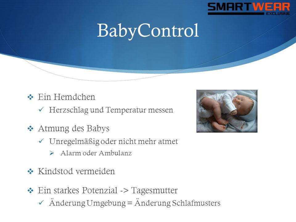BabyControl  Ein Hemdchen  Herzschlag und Temperatur messen  Atmung des Babys  Unregelmäßig oder nicht mehr atmet  Alarm oder Ambulanz  Kindstod
