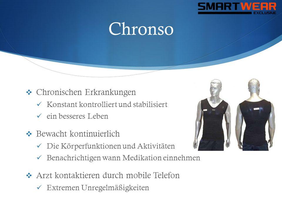 Chronso  Chronischen Erkrankungen  Konstant kontrolliert und stabilisiert  ein besseres Leben  Bewacht kontinuierlich  Die Körperfunktionen und A