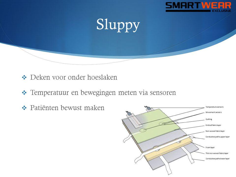 Sluppy  Deken voor onder hoeslaken  Temperatuur en bewegingen meten via sensoren  Patiënten bewust maken