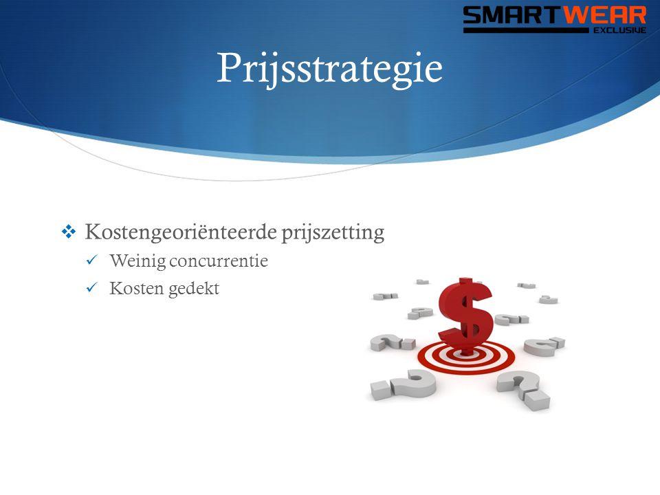 Prijsstrategie  Kostengeoriënteerde prijszetting  Weinig concurrentie  Kosten gedekt