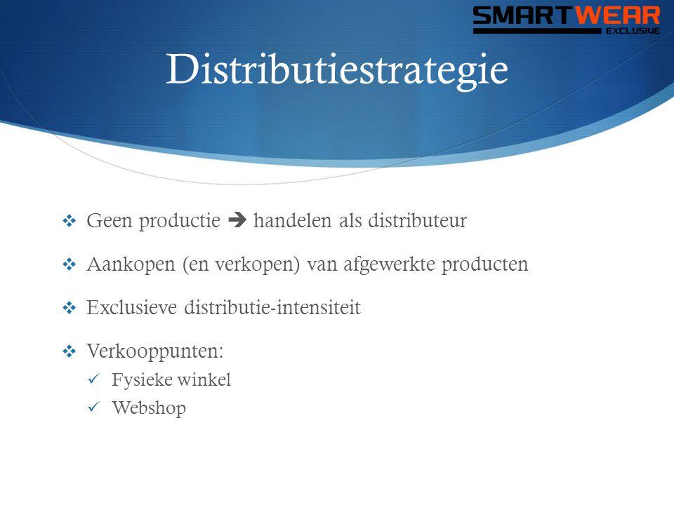 Distributiestrategie  Geen productie  handelen als distributeur  Aankopen (en verkopen) van afgewerkte producten  Exclusieve distributie-intensite