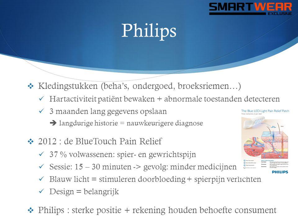 Philips  Kledingstukken (beha's, ondergoed, broeksriemen…)  Hartactiviteit patiënt bewaken + abnormale toestanden detecteren  3 maanden lang gegeve
