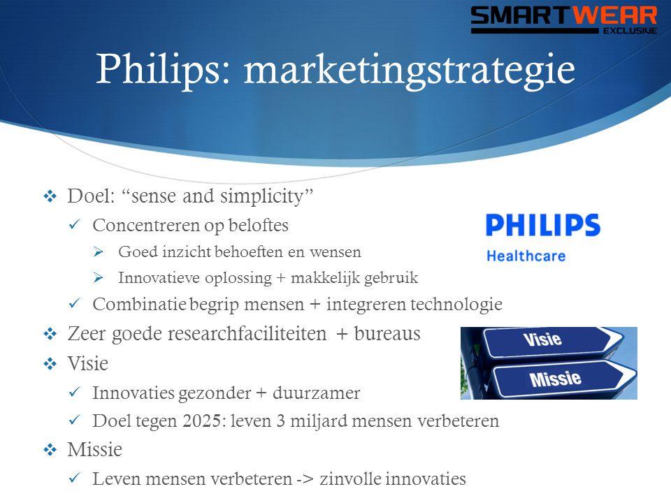 Philips: marketingstrategie  Op de markt brengen  Nu: vooral onderzoeken  Effectief op de markt brengen  Gericht op behoefte consument  => Consument weinig info -> geen behoefte  Volop onderzoeken + ontwikkelingen  Universiteiten  Focus op intelligent textiel  Uitwerken + aanbieden  Toekomst of niet.
