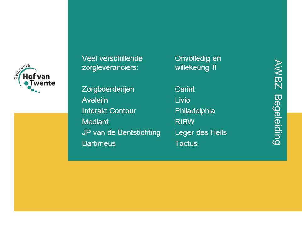 AWBZ Begeleiding Veel verschillende zorgleveranciers: Zorgboerderijen Aveleijn Interakt Contour Mediant JP van de Bentstichting Bartimeus Onvolledig en willekeurig !.