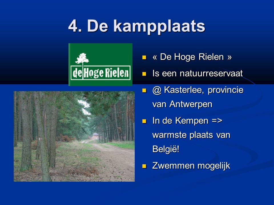 4. De kampplaats  « De Hoge Rielen »  Is een natuurreservaat  @ Kasterlee, provincie van Antwerpen  In de Kempen => warmste plaats van België!  Z