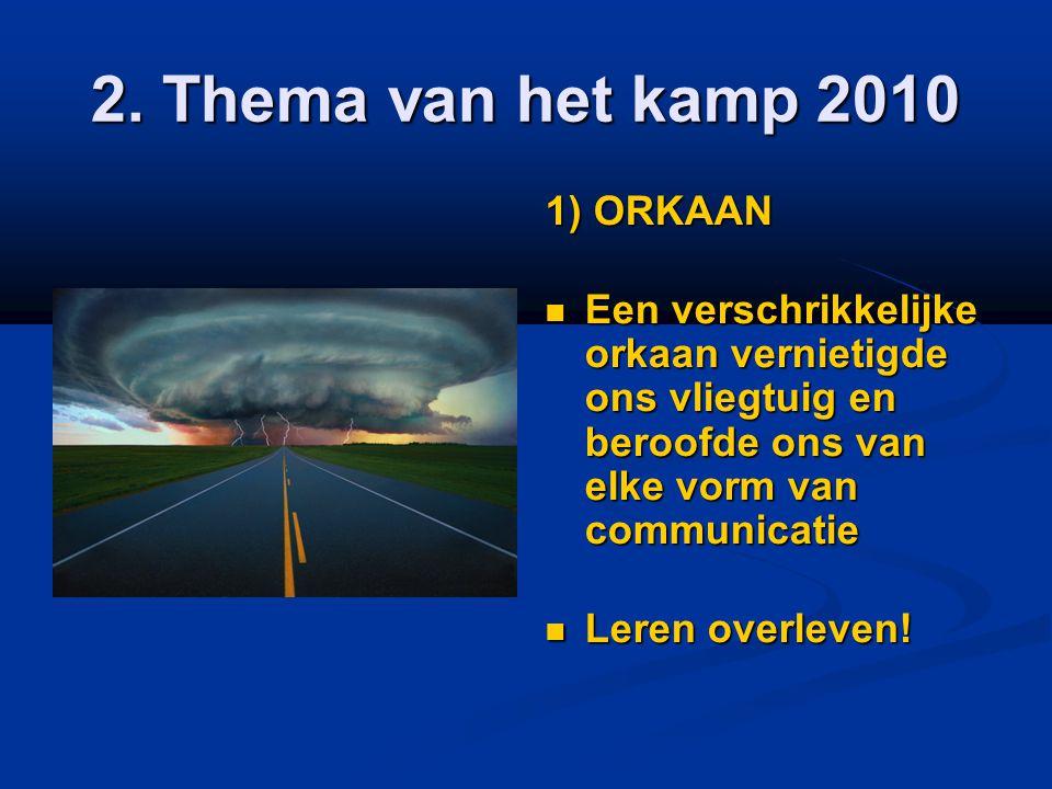 2. Thema van het kamp 2010 1) ORKAAN  Een verschrikkelijke orkaan vernietigde ons vliegtuig en beroofde ons van elke vorm van communicatie  Leren ov