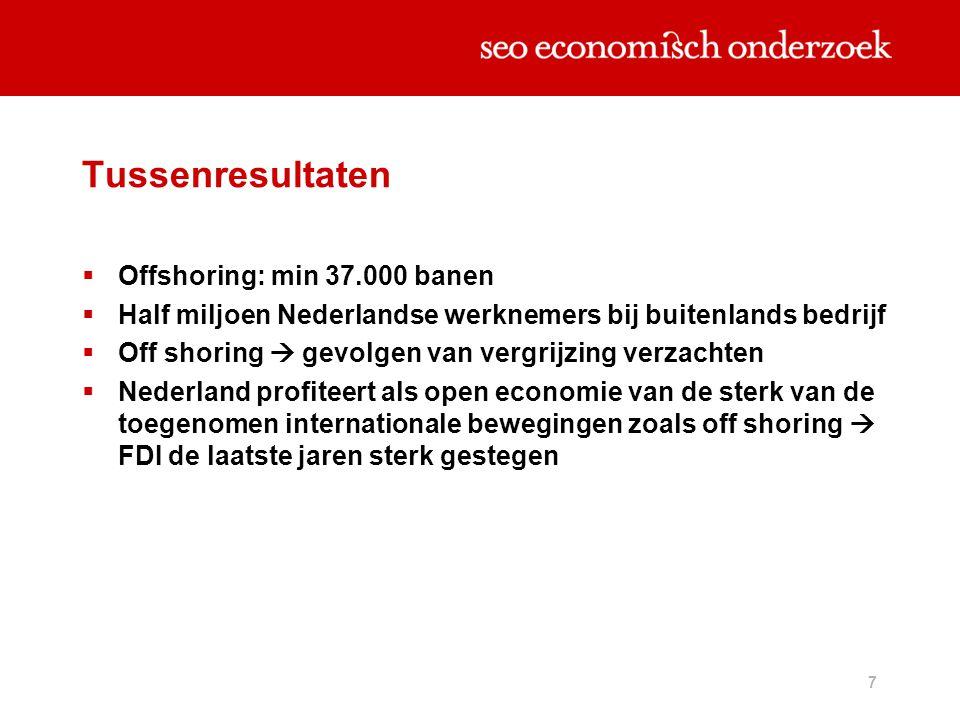 7 Tussenresultaten  Offshoring: min 37.000 banen  Half miljoen Nederlandse werknemers bij buitenlands bedrijf  Off shoring  gevolgen van vergrijzi