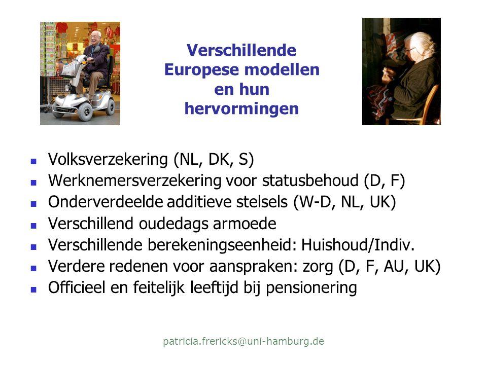 patricia.frericks@uni-hamburg.de Verschillende Europese modellen en hun hervormingen  Volksverzekering (NL, DK, S)  Werknemersverzekering voor statusbehoud (D, F)  Onderverdeelde additieve stelsels (W-D, NL, UK)  Verschillend oudedags armoede  Verschillende berekeningseenheid: Huishoud/Indiv.