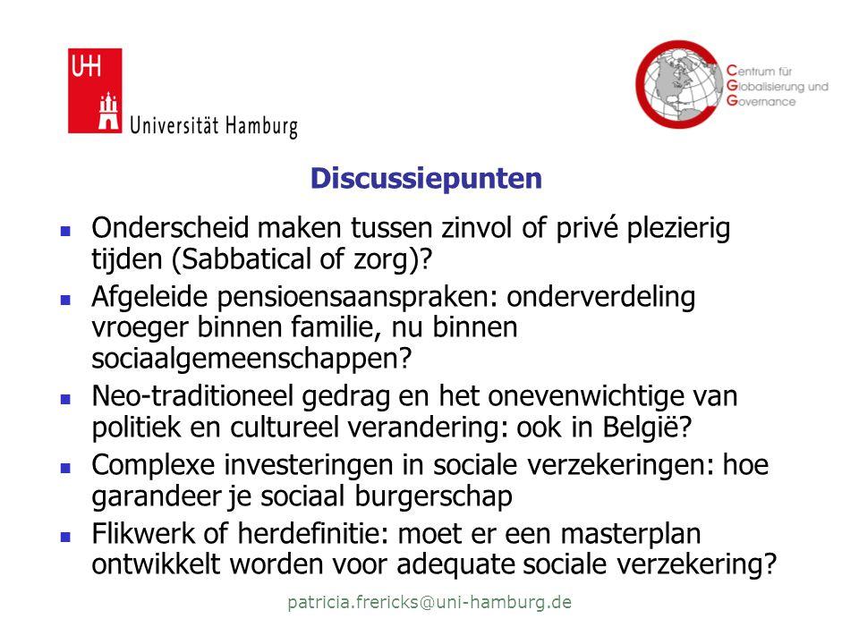 patricia.frericks@uni-hamburg.de Discussiepunten  Onderscheid maken tussen zinvol of privé plezierig tijden (Sabbatical of zorg).