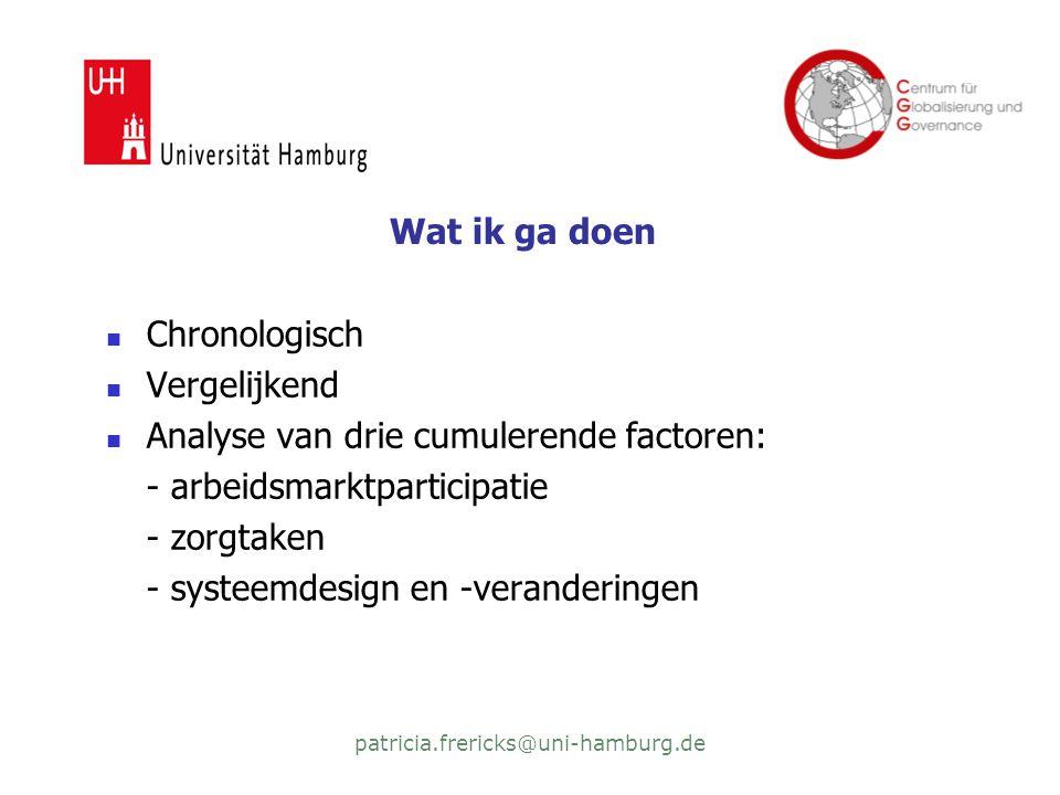 patricia.frericks@uni-hamburg.de Wat ik ga doen  Chronologisch  Vergelijkend  Analyse van drie cumulerende factoren: - arbeidsmarktparticipatie - zorgtaken - systeemdesign en -veranderingen