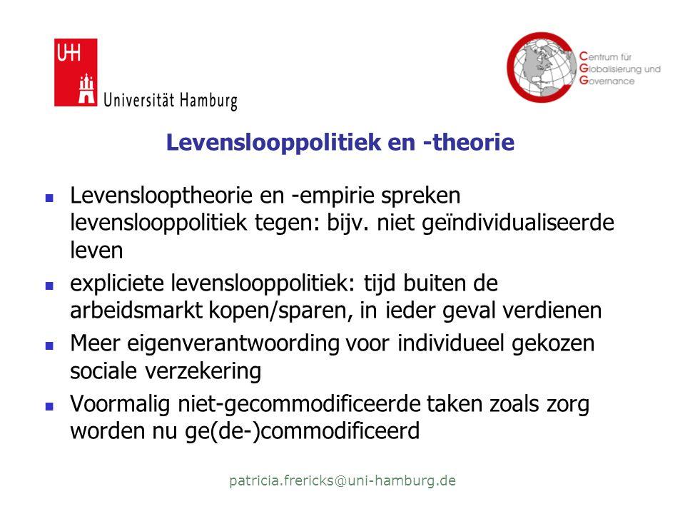 patricia.frericks@uni-hamburg.de Levenslooppolitiek en -theorie  Levenslooptheorie en -empirie spreken levenslooppolitiek tegen: bijv.
