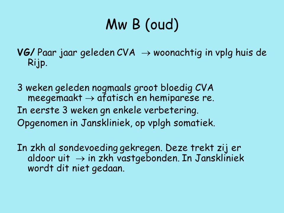 Mw B (oud) VG/ Paar jaar geleden CVA  woonachtig in vplg huis de Rijp.
