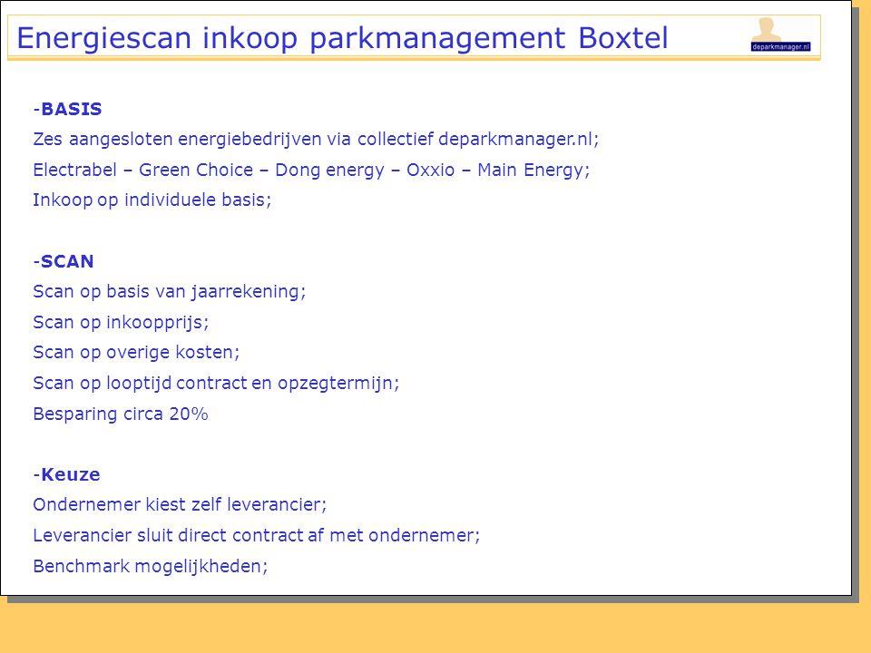 Energiescan inkoop parkmanagement Boxtel -BASIS Zes aangesloten energiebedrijven via collectief deparkmanager.nl; Electrabel – Green Choice – Dong ene